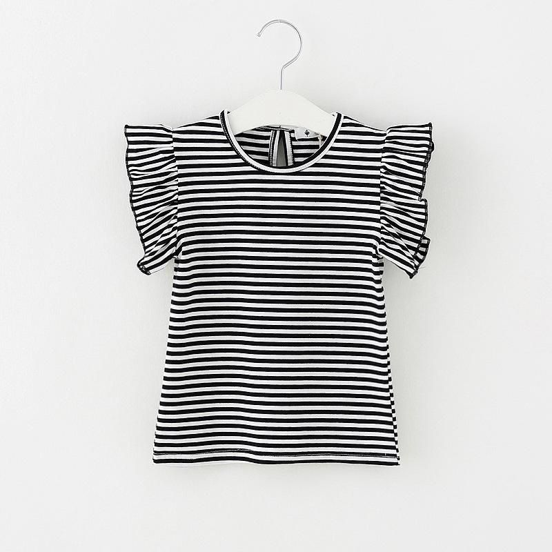2702d431d8ba0 Tシャツ 半袖 ラウンドネック 子供用 トップス カットソー ボーダー柄 背中リボン ウィングスリーブ シンプル おしゃれ きれいめ 可愛い かわいい  女の子 女児 キッズ ...