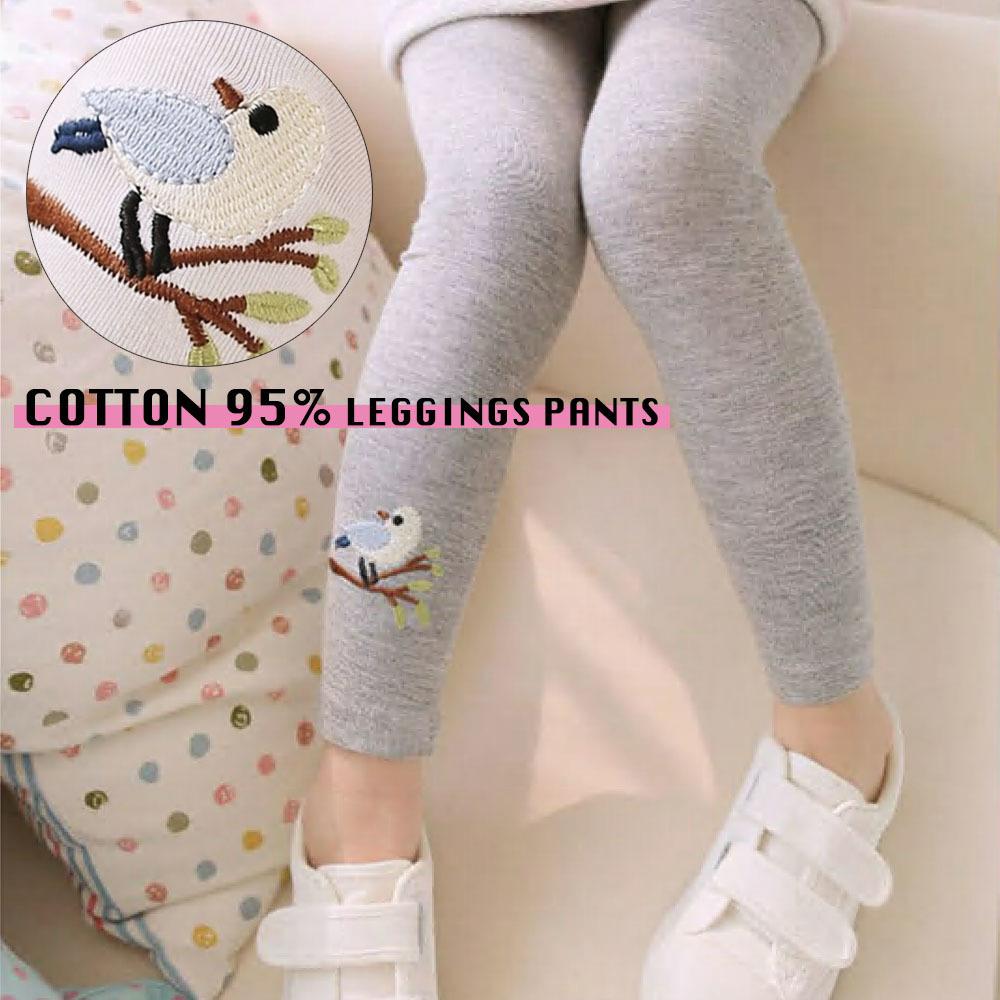 ad79fee19aaf4 子供用 レギンス スパッツ ベビー キッズ 女の子 男の子 ワンポイント刺繍 レギパン 10分丈 コットン 90 100 110 120 130   小鳥の刺繍が可愛い子供用のレギンスです ...